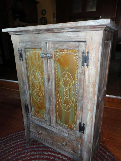 Distressed Pine Jelly Cupboard With Punched Tin Panels. Price: $499.99