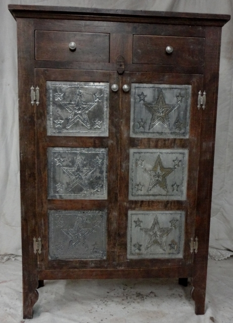 Solid Cherry Pie Safe Distressed with Punched Tin.  $650