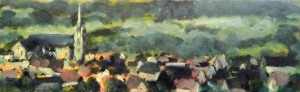 "French Village 12"" x 30"" Oil on Canvas"