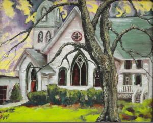 "Gothic Church 16"" x 20"" Oil on Canvas"