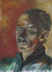 """Self Portrait Light from Bottom 16"""" x 20"""" Oil on Canvas"""