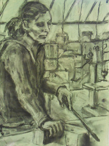 """In the Shop 18"""" x 24""""  Charcoal"""