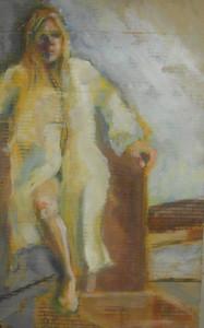 Model in Robe - Oil on Cardboard