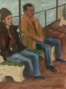 """On the Bench"" 18 x 24 Oil on Canvas"